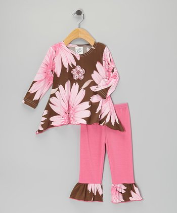 Pink & Brown Sidetail Tunic & Ruffle Leggings - Infant & Toddler