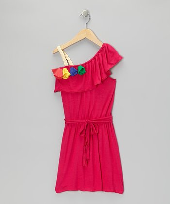 Fuchsia Jane Organic Asymmetrical Dress - Toddler & Girls