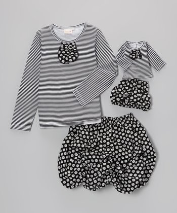 Black & White Baily Skirt Set & Doll Outfit