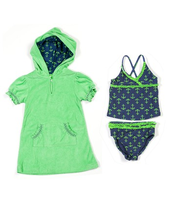 Navy Anchors Away Tankini & Cover-Up - Infant, Toddler & Girls