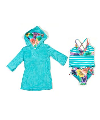 Aqua Summer Florals Tankini & Cover-Up - Infant, Toddler & Girls