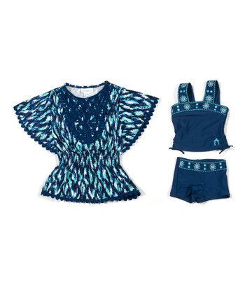 Navy Ikat Blues Tankini & Cover-Up - Infant & Girls