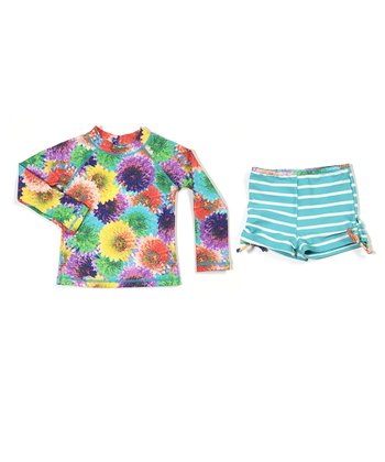 Aqua Summer Florals Rashguard Set - Infant & Girls
