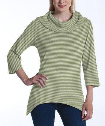 lur® Olive & Cloud Stripe Lagoon Sidetail Top - Women