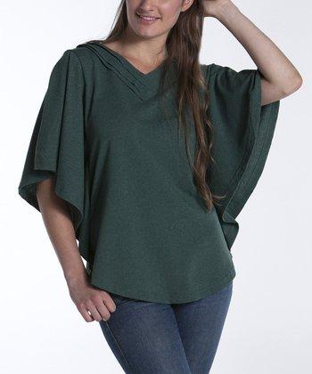 lur® Moss Dahlia Cape-Sleeve Top - Women