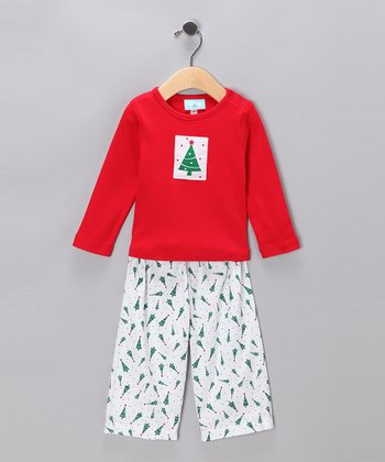 White & Red Christmas Tree Sleep Tee & Pants - Infant & Toddler