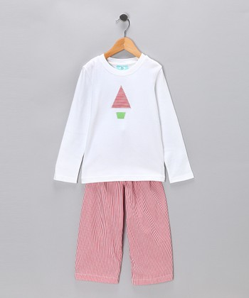 White & Red Stripe Sleep Tee & Pants - Toddler & Boys
