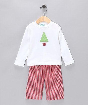Red Gingham Sleep Tee & Pants - Boys