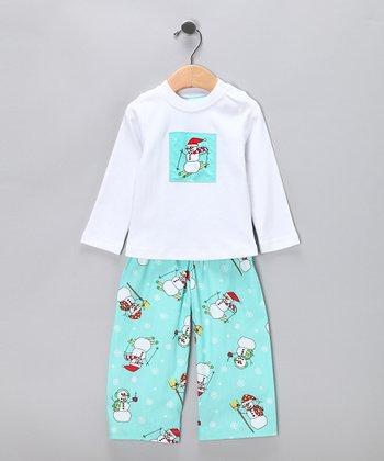 Turquoise Snowman Sleep Tee & Pants - Toddler & Boys