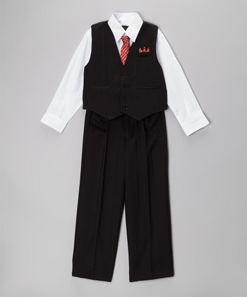 Black & Red Stripe Four-Piece Vest Set - Infant, Toddler & Boys