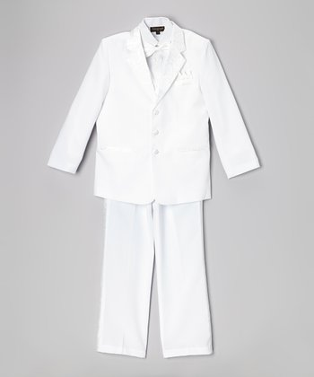 White Brocade Five-Piece Tuxedo Set - Boys