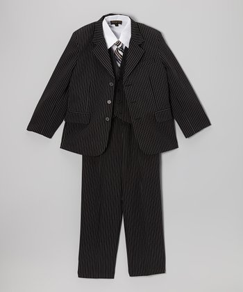 Black Pinstripe Five-Piece Suit Set - Infant, Toddler & Boy