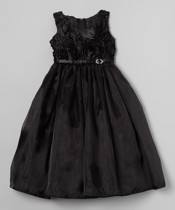 ClassyKidzShop Black Rosette Swirl Dress - Toddler & Girls