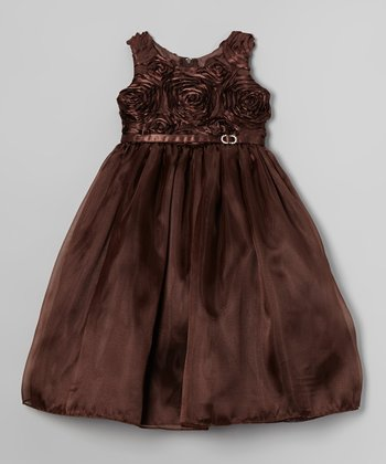 Brown Rosette Swirl Dress - Toddler & Girls