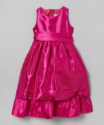 Fuchsia Rosette Tier A-Line Dress - Girls