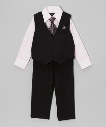 Black & Pink Four-Piece Vest Set - Infant & Toddler