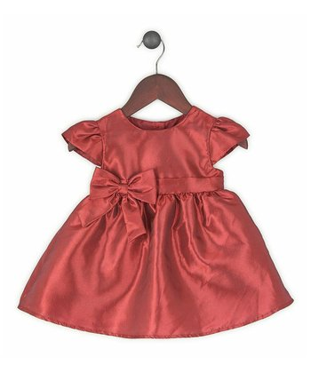 Red Satin Bow Cap-Sleeve Dress - Toddler & Girls