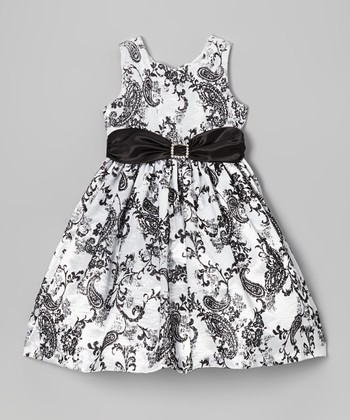Black & White Paisley Sweetheart Dress - Toddler & Girls