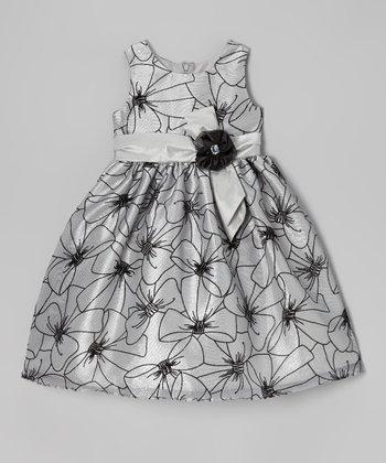 Silver Floral Bow Dress - Infant, Toddler & Girls