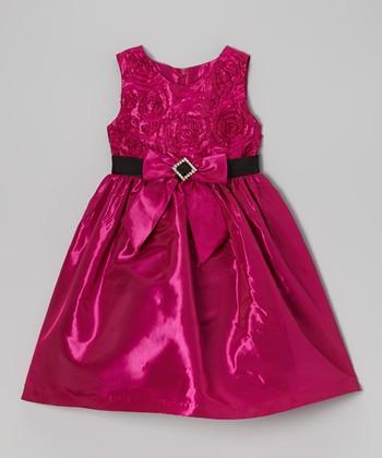 Fuchsia Rosette Bow Dress - Infant & Toddler