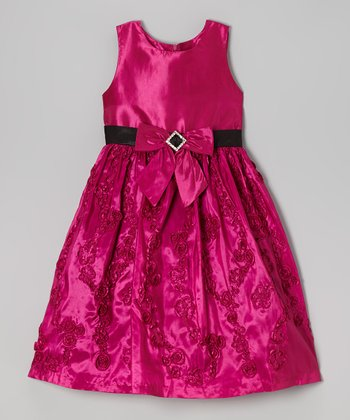 Fuchsia Bow Rosette Cascade Dress - Girls