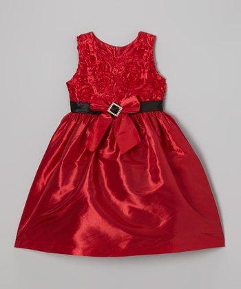 Red Rosette Bow Dress - Infant, Toddler & Girls