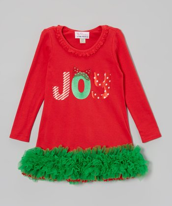Red & Green 'Joy' Ruffle Dress - Infant, Toddler & Girls