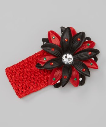 Black & Red Flower Crocheted Headband