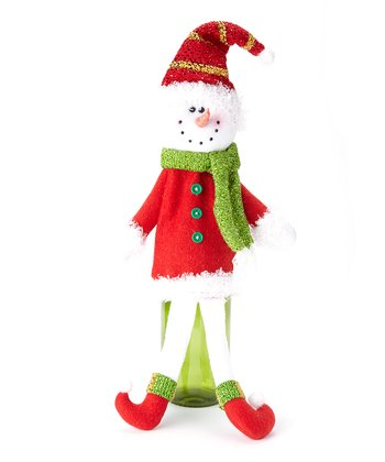 Green Scarf Snowman Bottle Cover