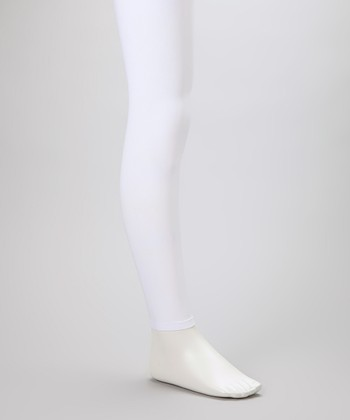 White Footless Tights - Girls