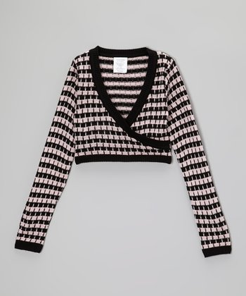 Black & Pink Houndstooth Mock Wrap Crop Top - Girls