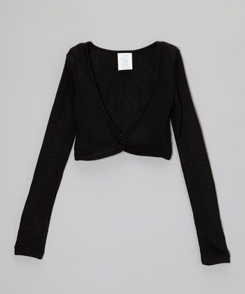 Black Pullover Crop Sweater - Girls
