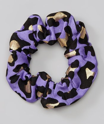 Purple Leopard Foil Hair Tie