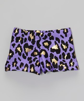 Purple Leopard Foil Shorts - Girls