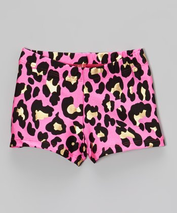 Berry Leopard Foil Shorts - Girls