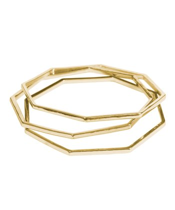 Gold Octagon Bangle Set