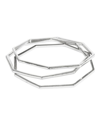 Silver Octagon Bangle Set