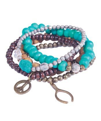 Turquoise & Burgundy Beaded Stretch Bracelet Set