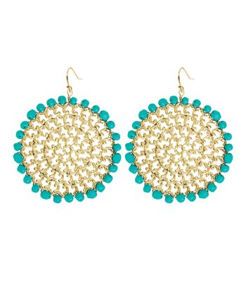 Turquoise & Gold Filigree Drop Earrings