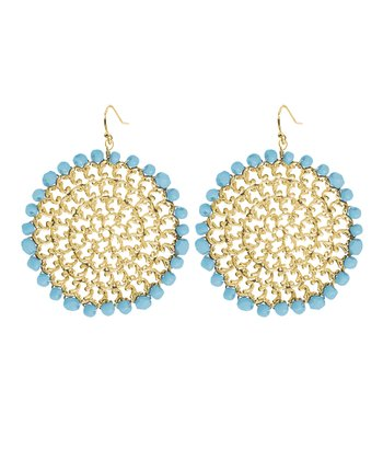 Blue & Gold Filigree Drop Earrings