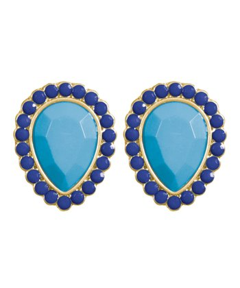 Blue & Gold Teardrop Stud Earrings
