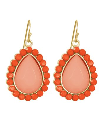 Coral & Gold Teardrop Earrings