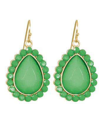 Green & Gold Teardrop Earrings