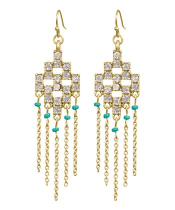 Crystal & Gold Aztec Chandelier Drop Earrings
