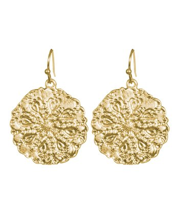 Gold Textured Disc Drop Earrings