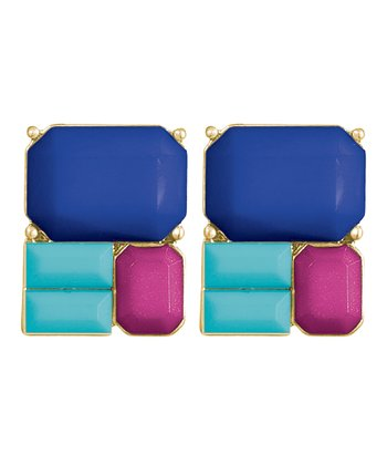 Blue & Fuchsia Gold Stud Earrings
