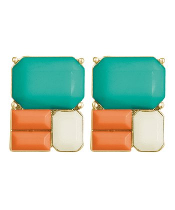 Green & Orange Gold Stud Earrings