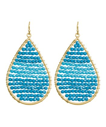 Teal & Gold Beaded Teardrop Earrings
