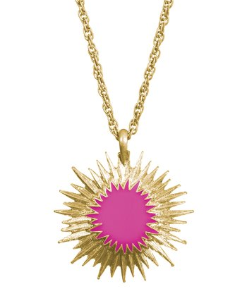Raspberry & Gold Sunburst Pendant Necklace