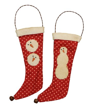 Polka Dot Snowman Stocking Set